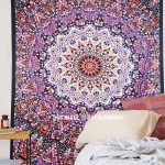Multi Fabric Cloth 3 D Star Mandala Wall Tapestry, Hippie Bedspread
