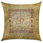 "16"" White Gold Poly Dupion Weaving Indian Elephant Silk Brocade Pillow Case"