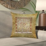 "16"" White Gold Poly Dupion Weaving Indian Elephant Silk Brocade Pillow Case"