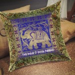 "16"" Inch Blue Elephant Tree Design Silk Brocade Throw Pillow Cover"