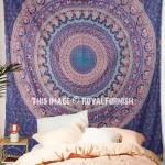 Blue Elephants & Peacocks Bohemian Mandala Wall Tapestry