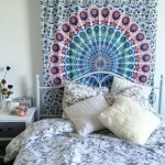 Small Multi Leafs White Mandala Bohemian Wall Tapestry, Hippie Indian Bedding