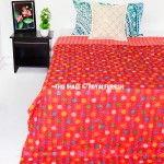 Red Polka Dot Kantha Embroidered Throw