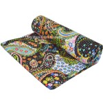 Twin Size Black Paisley Floral Ikat Kantha Quilt Throw Bed Cover