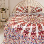 Red Multi Glittering Medallion Circle Cotton Duvet Cover with Set of 2 Pillow Cases