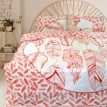 Red & White Summer Feathers Boho Mandala Duvet Cover with Set of 2 Pillow Cases