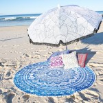 White & Blue Pom Pom Ombre Medallion Mandala Roundie Beach Throw