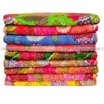 Set of 3 Wholesale Lot - Assorted Queen Fruit Print Tropicana Kantha Quilt Blanket Bedding Bedspread