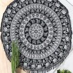 Black & White Elephant Mandala Beach Throw Hippie Elephant Boho Round Tablecloth