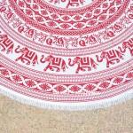 Red and White Elephant Medallion Mandala Roundie Beach Throw