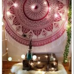 Pink Large Leaves Ombre Mandala Roundie Beach Throw