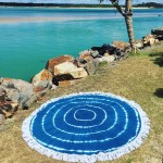 Blue Shibori Mandala Circle Roundie Beach Throw Round Tablecloth