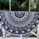 Black & White Bohemian Elephant Hippie Mandala Beach Throw Mat Round Tablecloth