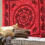 Red Multi Herd of Elephants Mandala Tie Dye Tapestry Bedding