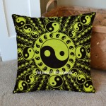 Green and Black Yin Yang Decorative Tie Dye Pillow Cover 16X16
