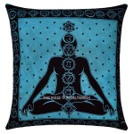 Turquoise Yoga Poses Chakras Tie Dye 16X16 Cotton Throw Pillow Cover