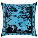 Turquoise Multi Alice in Wonderland Decorative Cotton 16X16 Tie Dye Pillow Cover