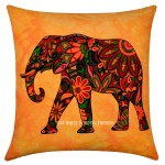 Orange Asian Elephant Tie Dye Hippie Decorative Throw Pillow Cover 16X16 Inch