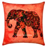 Red Multi Decorative Tie Dye Printed Asian Elephant Throw Pillow Cover 16X16