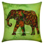 Green Multi Decorative and Accent Reversible Elephant Pillow Case 16X16 Inch