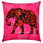 Pink Asian Elephant Tie Dye Hippie Decorative Reversible Pillow Cover 16X16 Inch