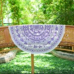 White and Purple ROPE Elephant Mandala Roundie Beach Towel Throw