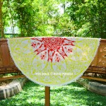 Yellow & Red Multi Vector Ombre Mandala Roundie Beach Throw