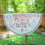 White and Burgundy Dreamcatcher Round Beach Throw Towel