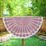 White & Orange Evershine Mandala Roundie Beach Throw