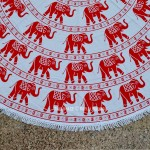 White and Red Asian Elephants Ring Mandala Roundie Beach Throw