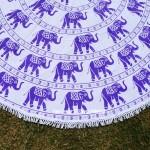 White and Purple Elephants Ring Mandala Roundie Beach Throw