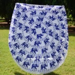 White and Blue Herd of Elephants Mandala Circle Beach Roundie Throw
