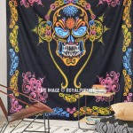 Black Multi Grateful Dead Music Band Skull Tapestry