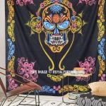 Black Multi Grateful Dead Music Band Skull Tapestry