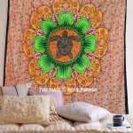 Orange Multi Turtle Mandala Tapestry