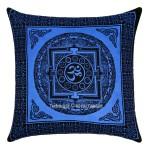 Decorative Blue Tibetan Aum Om Printed Tie Dye Square Pillow Cover 16X16