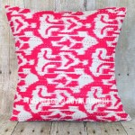 Pink Unique One-Of-A-Kind Handmade Zig Zag Ikat Pillow Case 16X16