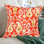 16X16 Orange Multi Paisley Unique Kantha Ikat Square Pillow Cover