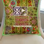 """20X20"""" Green Multi Hand Embroidered Unique Decorative Pillow Case"""