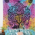 Turquoise Blue Good Luck Royal Elephant and Tree Tapestry, Hippie Tie Dye Sheet