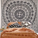 Black and Beige Sun Moon & Elephants Ring Mandala Tapestry Wall Hanging