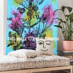 ON SALE!! Turquoise Multi Opium Poppy Plant Tapestry Wall Hanging