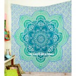Sea Green Big Flower of Life Geometric Ombre Mandala Fabric Tapestry
