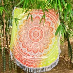 Multi Ombre Flower Medallion Cotton Roundie Beach Throw Towel