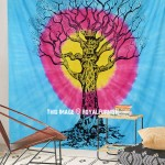 Turquoise and Pink Round Tie Dye Circle Tree of Life Wall Tapestry
