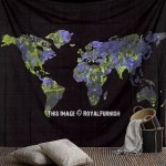Large Black and Blue Multi World Map Tapestry, Atlas Cotton Sheet