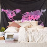 Large Black and Pink Multi World Map Wall Tapestry, Atlas Bedding