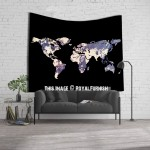 ON SALE!! Grey Black Multi World Map Wall Tapestry, Atlas Bedspread