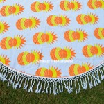 Orange Multi Pineapple Printed Round Beach Towel Throw