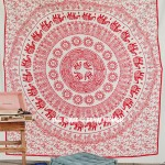 Psychedelic Red Sun Elephant Medallion Tapestry, Cotton Fringed Bedding
